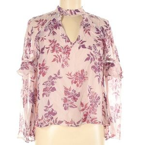 Express Long sleeve Floral High Neck Sheer Lined